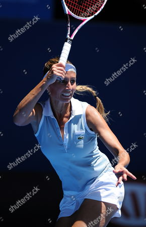 Gisela Dulko of Argentina Returns to Maria Sharapova of Russia in Their Round One Match at Hisense Arena During the Australian Open Tennis Tournament in Melbourne Australia 17 January 2012 Australia Melbourne