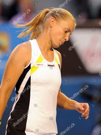 Australia's Jelena Dokic Reacts to Losing a Point During Her Second Round Match Against Marion Bartoli of France at the Australian Open Tennis Tournament in Melbourne Australia 19 January 2012 Australia Melbourne