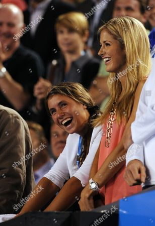 Australia's Bernard Tomic's Sister Sara (centre) and Girlfriend Donay Meijer (right) Watch Him Play Against Sam Querrey of the Usa in Their Second Round Match at Rod Laver Arena at the Australian Open Tennis Tournament in Melbourne Australia 18 January 2012 Tomic Won Australia Melbourne