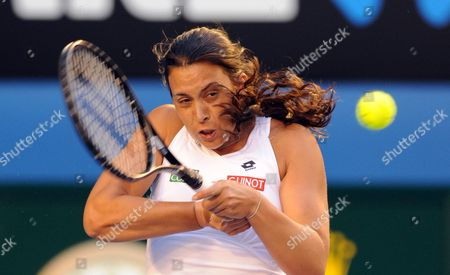 Marion Bartoli of France in Action During Her Second Round Match Against Australia's Jelena Dokic at the Australian Open Tennis Tournament in Melbourne Australia 19 January 2012 Australia Melbourne