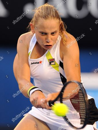 Australia's Jelena Dokic in Action During Her Second Round Match Against Marion Bartoli of France at the Australian Open Tennis Tournament in Melbourne Australia 19 January 2012 Bartoli Won Australia Melbourne