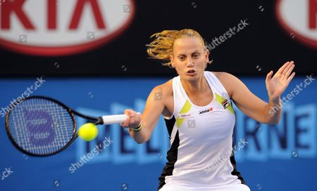 Australia's Jelena Dokic in Action During Her Second Round Match Against Marion Bartoli of France at the Australian Open Tennis Tournament in Melbourne Australia 19 January 2012 Australia Melbourne