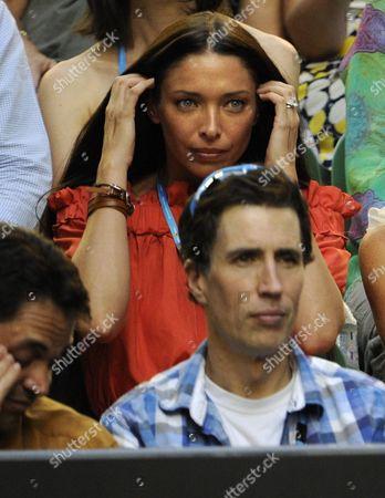 Erica Packer Wife of Australian Billionaire James Packer Waits For the Start of the Rafael Nadal of Spain Versus Novak Djokovic of Serbia Men's Final of the Australian Open Grand Slam Tennis Tournament in Melbourne Sunday January 29 2012 Australia Melbourne