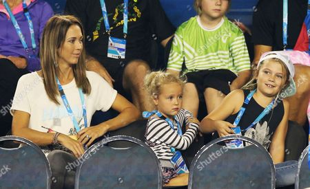 Australian Tennis Player Lleyton Hewitt's Wife Bec Hewitt and Her Children During the Kids Day at the Australian Open Practice Session at Melbourne Park in Melbourne Australia 17 January 2014 the Australian Open Tennis Tournament Runs From 19 January Until 01 February 2015 Australia Melbourne