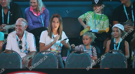 Former Professional Australian Tennis Player Tony Roche (l) Australian Actress Bec Hewitt (2-l) and Her Children During the Kids Day at the Australian Open Practice Session at Melbourne Park in Melbourne Australia 17 January 2014 the Australian Open Tennis Tournament Runs From 19 January Until 01 February 2015 Australia Melbourne