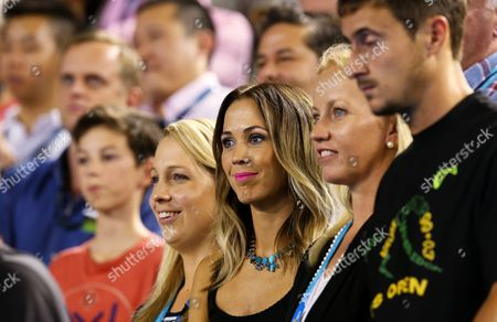 Bec Hewitt (c) Wife of Lleyton Hewitt of Australia Celebrates His Win Over Ze Zhang of China in Their First Round Match at Rod Laver Arena During the Australian Open Grand Slam Tennis Tournament at Melbourne Park in Melbourne Australia 20 January 2015 Australia Melbourne