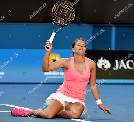 Barbora Zahlavova Strycova of the Czech Republic Takes a Tumble in Her Match Against Victoria Azarenka of Belarus During the Australian Open at Melbourne Park Melbourne Saturday Jan 24 2015 Australia Melbourne