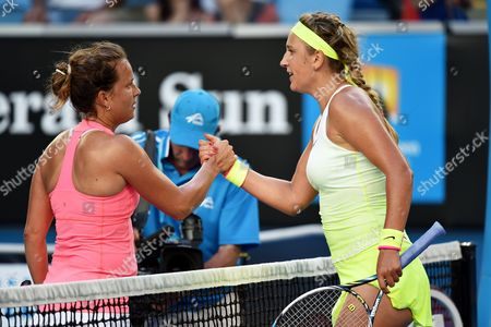 Victoria Azarenka (r) of Belarus is Congratulated by Barbora Zahlavova Strycova (l) of the Czech Republic After Winning Their Third Round Match of the Australian Open Grand Slam Tennis Tournament at Melbourne Park in Melbourne Australia 24 January 2015 Australia Melbourne