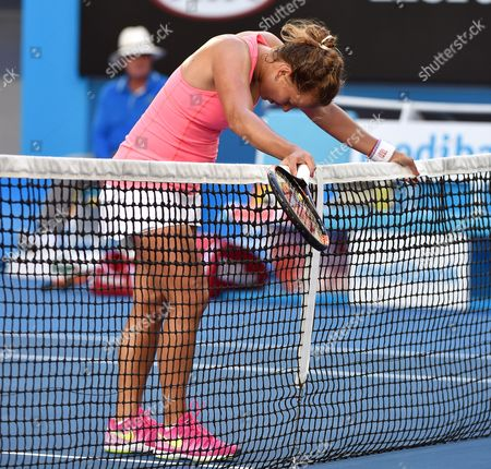 Barbora Zahlavova Strycova of the Czech Republic Reacts After Losing to Victoria Azarenka of Belarus in Their Third Round Match of the Australian Open Grand Slam Tennis Tournament at Melbourne Park in Melbourne Australia 24 January 2015 Australia Melbourne