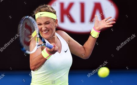 Victoria Azarenka of Belarus Returns the Ball to Barbora Zahlavova Strycova of the Czech Republic During Their Third Round Match of the Australian Open Grand Slam Tennis Tournament at Melbourne Park in Melbourne Australia 24 January 2015 Australia Melbourne