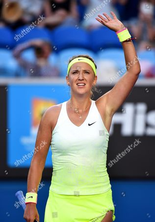 Victoria Azarenka of Belarus Celebrates After Beating Barbora Zahlavova Strycova of the Czech Republic in Their Third Round Match of the Australian Open Grand Slam Tennis Tournament at Melbourne Park in Melbourne Australia 24 January 2015 Australia Melbourne