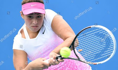 Sara Tomic of Australia in Action Against Tami Grende of India in the Girls Singles Match of the Australian Open Tennis Tournament at Melbourne Park in Melbourne Australia 25 January 2015 the Australian Open Tennis Tournament Runs From 19 January Until 01 February 2015 Australia Melbourne