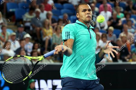 Jo-wilfried Tsonga of France Plays a Forehand Against Pierre-hugues Herbert of France During Their Third Round Match on Day Five of the Australian Open Tennis Tournament in Melbourne Australia 22 January 2016 Australia Melbourne