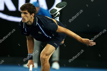 Pierre-hugues Herbert of France Serves to Jo-wilfried Tsonga of France During Their Third Round Match on Day Five of the Australian Open Tennis Tournament in Melbourne Australia 22 January 2016 Australia Melbourne