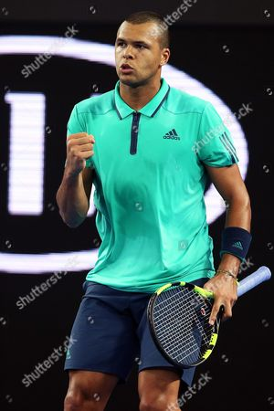 Jo-wilfried Tsonga of France Gestures During the Match Against Pierre-hugues Herbert of France During Their Third Round Match on Day Five of the Australian Open Tennis Tournament in Melbourne Australia 22 January 2016 Australia Melbourne