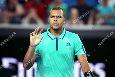 Jo-wilfried Tsonga of France Gestures During His Match Against Pierre-hugues Herbert of France During Their Third Round Match on Day Five of the Australian Open Tennis Tournament in Melbourne Australia 22 January 2016 Australia Melbourne
