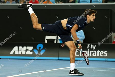 Pierre-hugues Herbert of France Serves Ti Jo-wilfried Tsonga of France During Their Third Round Match on Day Five of the Australian Open Tennis Tournament in Melbourne Australia 22 January 2016 Australia Melbourne
