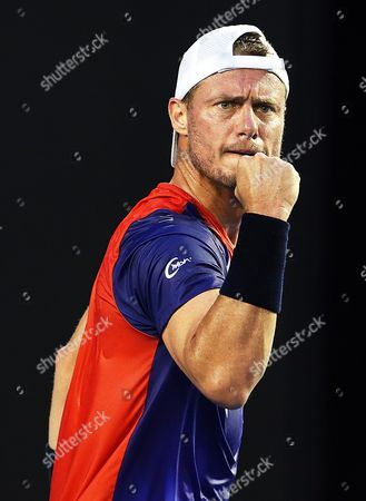 Lleyton Hewitt of Australia Reacts During His First Round Match Against James Duckworth of Australia at the Australian Open Grand Slam Tennis Tournament in Melbourne Australia 19 January 2016 Australia Melbourne