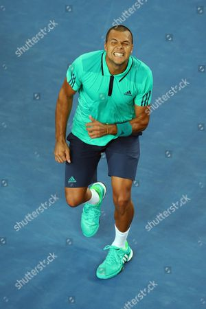 Jo-wilfried Tsonga of France Celebrates His Win Over Pierre-hugues Herbert of France After Their Third Round Match at the Australian Open Tennis Tournament in Melbourne Australia 22 January 2016 Australia Melbourne