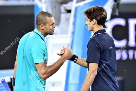 Jo-wilfried Tsonga of France (l) is Congratulated by His Opponent Pierre-hugues Herbert of France After Tsonga Won Their Third Round Match at the Australian Open Tennis Tournament in Melbourne Australia 22 January 2016 Australia Melbourne