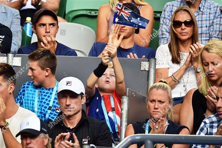 Cruz Hewitt (c) Son of Lleyton Hewitt of Australia Waves a Flag During the Second Round Match Between Hewitt and David Ferrer of Spain at the Australian Open Grand Slam Tennis Tournament in Melbourne Australia 21 January 2016 Australia Melbourne