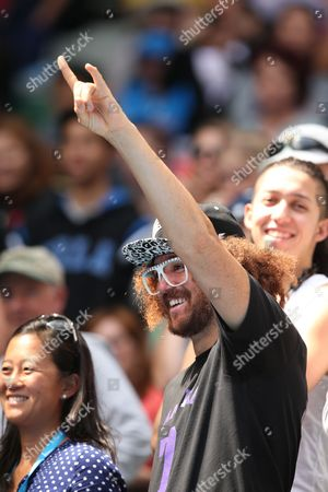 Us Singer Stefan Kendal Gordy Best Known As Redfoo Reacts After His Girlfriend Victoria Azarenka of Belarus Wins Her Match Against Sloane Stephens of the Us in Round Four of the Australian Open Grand Slam Tennis Tournament in Melbourne Australia 20 January 2014 Australia Melbourne