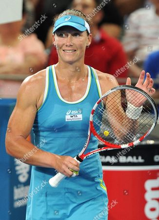 Australia's Samantha Stosur Smiles Following Her First Round Win Against Anastasiya Yakimova of Belarus at the Brisbane International Tournament in Brisbane Australia 02 January 2012 Australia Brisbane