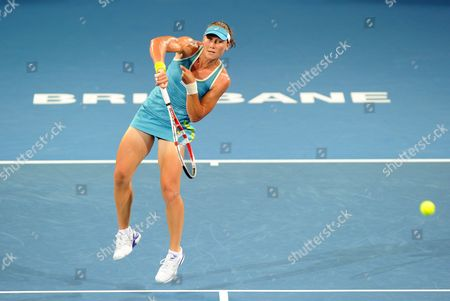 Australia's Samantha Stosur Returns the Ball to Anastasiya Yakimova of Belarus During Her First Round Match at the Brisbane International Tournament in Brisbane Australia 02 January 2012 Australia Brisbane