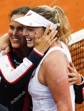 Coco Vandeweghe of the Usa (r) Celebrates with Teammate Mary Joe Fernandez (l) After Winning Against Samantha Stosur of Australia During Their Match of the 2016 Fed Cup Tennis Tournament World Group Playoff Between Australia and the United States at the Pat Rafter Arena in Brisbane Australia 17 April 2016 Australia Brisbane