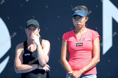 Lisa Raymond of Us (l) and Shuai Zhang of China (r) React After Their Game Against Klara Zakopalova of Czech Republic and Monica Niculescu of Romania (both not Pictured) at the Domain Tennis Centre in Hobart Tasmania Australia 11 January 2014 Australia Hobart