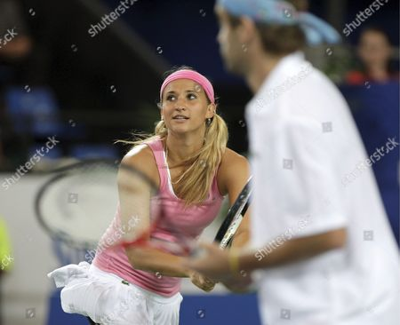 Tatiana Golovin and Arnaud Clement For France in the Mixed Doubles Match Against Serbia's Jelena Jankovic and Novak Djokovic (unseen) During Session 7 of the Hopman Cup Tennis Tournament in Perth 02 January 2008 Serbia Won the Match 5-7 6-4 7-6 (10-4) Australia Perth