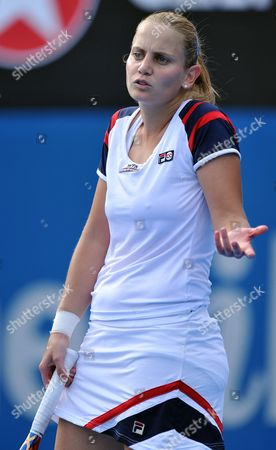 Australia's Jelena Dokic Contests a Point During Her Second Round Match Against Marion Bartoli of France D at the Sydney International Tennis Tournament in Sydney on Tuesday Jan 10 2012 Bartoli Won the Match 6-0 6-3 Australia Sydney