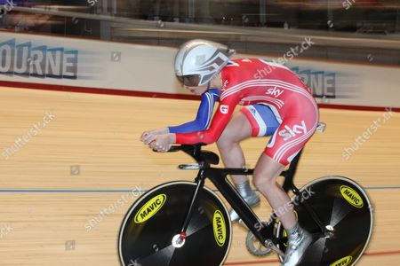 Stock Image of Great Britain's Wendy Houvenaghel in Action During the Women's Individual Pursuit Competition at the 2012 Uci Track Cycling World Championships in Melbourne Australia 08 April 2012 Australia Melbourne