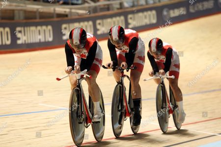 The Canadian Team of Tara Whitten Jasmin Glaesser and Gillian Carleton in Action in the Women's Team Pursuit at the Uci Track Cycling World Championships Held in Melbourne Australia 05 April 2012 Australia Melbourne