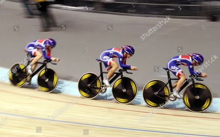 The Great Britain Women's Team Pursuit Team in the Qualifying Session with Danielle King Laura Trott and Joanna Roswell at the Uci Track Cycling World Championships Held in Melbourne Australia 05 April 2012 They Broke the World Record Australia Melbourne