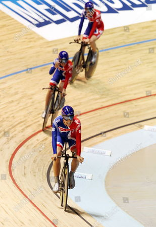 The Great Britain Women's Team Pursuit Team in the Qualifying Session with Danielle King Laura Trott and Joanna Roswell at the Uci Track Cycling World Championships Held in Melbourne Australia 05 April 2012 Australia Melbourne