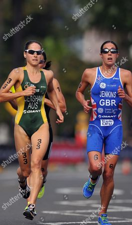 (l-r) Australia's Erin Densham Leads New Zealand's Andrea Hewitt and Helen Jenkins of Great Britain in the Women's Race of the Sydney Triathlon During the Opening Round of the World Championship Series in Sydney Australia 14 April 2012 Australia Sydney