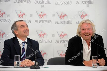 Sir Richard Branson (r) and Ceo John Borghetti During a Press Conference at Sydney Airport Sydney Australia on 04 May 2011 to Launch the New Branding For the Virgin Australia Airline Replacing Virgin Blue and V Australia Brands Australia Sydney