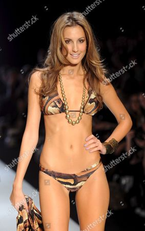 Former Miss Universe Australia Laura Dundovic Models For April Marie Swimwear As Part of the Swim Group Collection Show During Australian Fashion Week in Sydney Australia 29 April 2009 Australian Fashion Week is a Twice Yearly Fashion Industry Event Showcasing the Latest Seasonal Collections From Australian and Asia Pacific Designers Australia Sydney