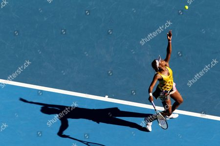 Venus Williams of the Us Serves to Sandra Zahlavova of the Czech Republic at Their Second Round Match at the Australian Open Tennis Tournament in Melbourne Australia 19 January 2011 Australia Melbourne
