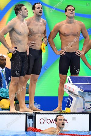 Australian Swimming Team Members James Roberts Kyle Chalmers James Magnussen and Cameron Mcevoy Look on After the Men's 4x100m Freestyle Relay Final Race of the Rio 2016 Olympic Games Swimming Events at Olympic Aquatics Stadium at the Olympic Park in Rio De Janeiro Brazil 07 August 2016 Brazil Rio De Janeiro