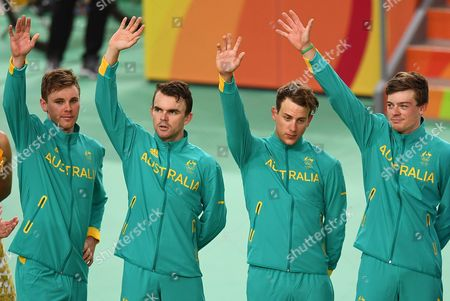 Stock Picture of Australia's Mens Team Pursuit Team Consisting of Michael Hepburn Jack Bobridge Sam Welsford and Alexander Edmondson Wait to Receive Their Medals For Placing Silver For the Men's Team Pursuit of the Rio 2016 Olympic Games Track Cycling Events at the Rio Olympic Velodrome in the Olympic Park in Rio De Janeiro Brazil 12 August 2016 Brazil Rio De Janeiro