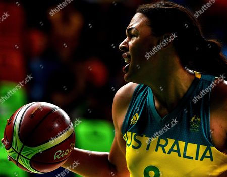 Elizabeth Cambage of Australia During the Women's Basketball Quarterfinal Between Australia and Serbia at the Carioca Arena 1 on Day Eleven of the Rio 2016 Olympic Games in Rio De Janeiro Brazil 16 August 2016 Brazil Rio De Janeiro