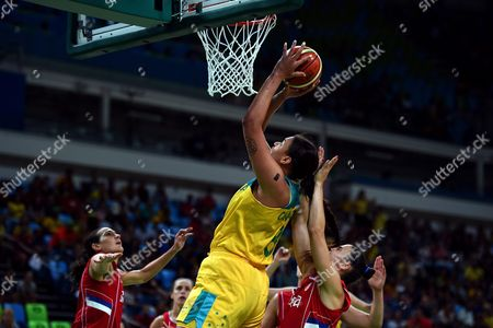 Elizabeth Cambage of Australia Goes to the Basket During the Women's Basketball Quarterfinal Between Australia and Serbia at the Carioca Arena 1 in the Olympic Park in Rio De Janeiro Brazil 16 August 2016 Brazil Rio De Janeiro