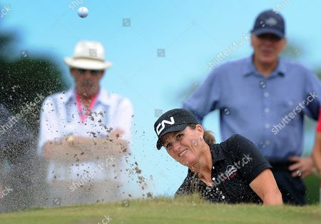 Lorie Kane of Canada Hits out of a Bunker During the Women's Australian Open Golf Tournament at the Royal Melbourne Golf Club in Melbourne Australia 12 February 2012 Jessica Korda of the Usa Later Won the Tournament After a Six Way Play-off Australia Melbourne