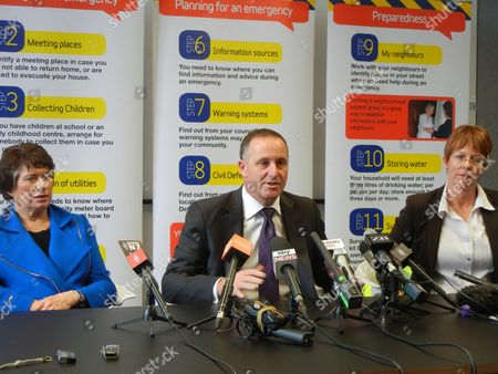 Stock Image of (l-r) Greater Wellington Regional Council Chair Fran Wilde New Zealand Prime Minister John Key and Wellington Mayor Celia Wade-brown Front a Press Conference After a Large Earthquake Damaged Buildings at the Weekend in Wellington New Zealand 22 July 2013 a 6 9 Magnitude Earthquake Hit the Cook Strait in New Zealand on 21 July 2013 New Zealand Wellington