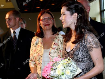 Danish Crown Princess Mary Elizabeth Donaldson (r) and Latvian Culture Minister Helena Demakova Upon Their Arrival Prior to the Concert Honored to 15 Year Anniversary Celebration of Danish Culture Institute in Latvia on Wednesday 25 August 2005 Latvia Riga
