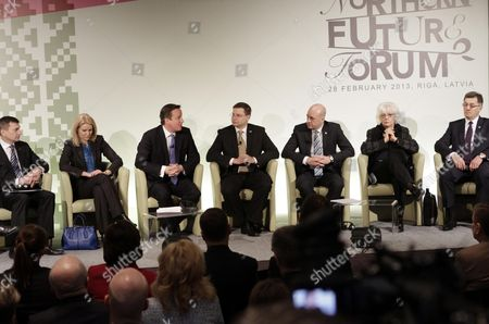 (l-r) Estonian Prime Minister Andrus Ansip Danish Prime Minister Helle Thorning-schmidt British Prime Minister David Cameron Latvian Prime Minister Valdis Dombrovskis Prime Minister of Sweden Fredrik Reinfeldt Prime Minister of Iceland Johanna Sigurdardottir and Lithuanian Prime Minister Algirdas Butkevicius Participate in the Northern Future Forum in Riga Latvia 28 February 2013 the Informal Northern Future Forum Brings Together Prime Ministers Experts Researchers and Entrepreneurs of Nordic and Baltic Countries and Great Britain to Discuss the Current Developments of the Region - Competitiveness of Green Economy and Bridging the Digital Divide Latvia Riga