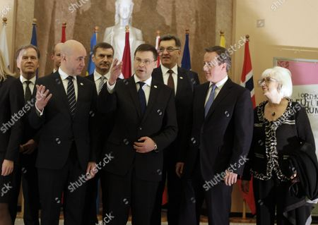 (l-r) Ambassor Extraordinary and Plenipotentuary Jan Grevstad Prime Minister of Sweden Fredrik Reinfeldt Estonia's Prime Minister Andrus Ansip Latvia's Prime Minister Valdis Dombrovskis Lithuania's Prime Minister Algirdas Butkevicius Prime Minister of United Kingdom David Cameron and Prime Minister of Iceland Johanna Sigurdardottir During the Participiants Welcoming Ceremony of Northern Future Forum in Riga Latvia 27 February 2013 Latvia Riga