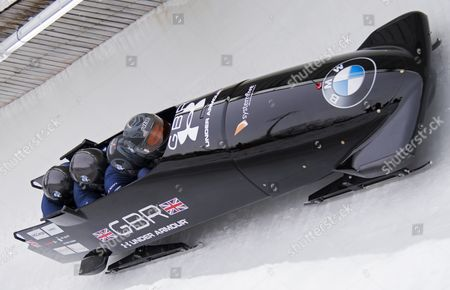 TEAM GB DURING THE WORLD CUP 4-MAN BOBSLEIGH. Bradley Hall, Joel Fearon, Bruce Tasker and Gregory Cakett
